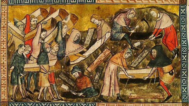 Enterro de vítimas da peste negra em Tournai, Bélgica. Iluminura de 1353.