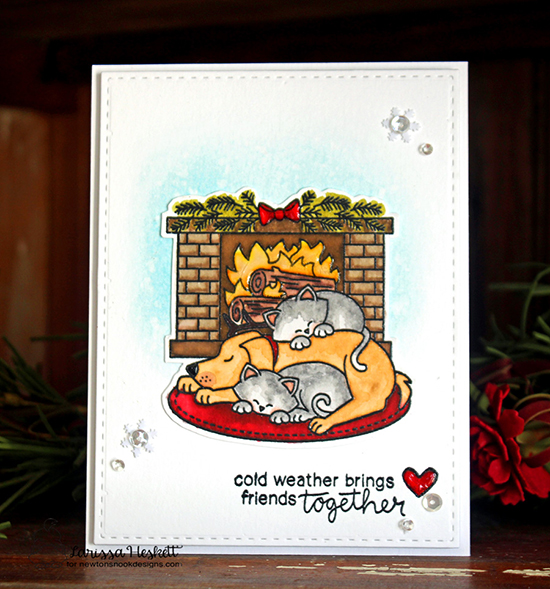 Christmas Fireplace with Dog and Cat Card by Larissa Heskett | Inky Paws Challenge 38 | Fireside Friends Stamp Set by Newton's Nook Designs #newtonsnook