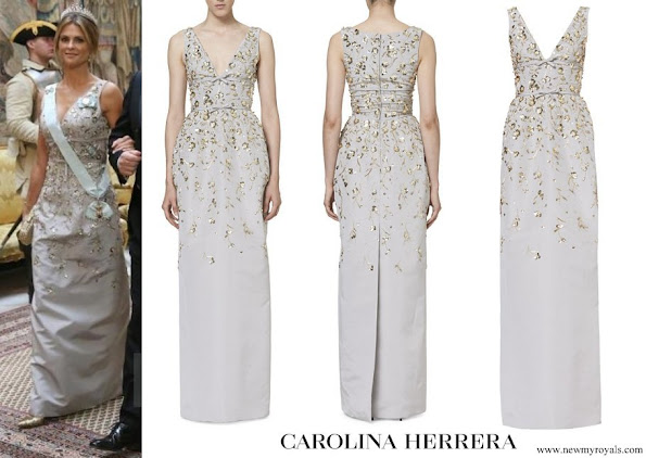 Princess Medeleine wore Carolina Herrera Embroidered Silk Gown