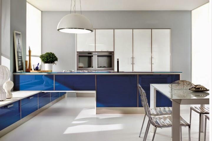 diseño de cocina azul