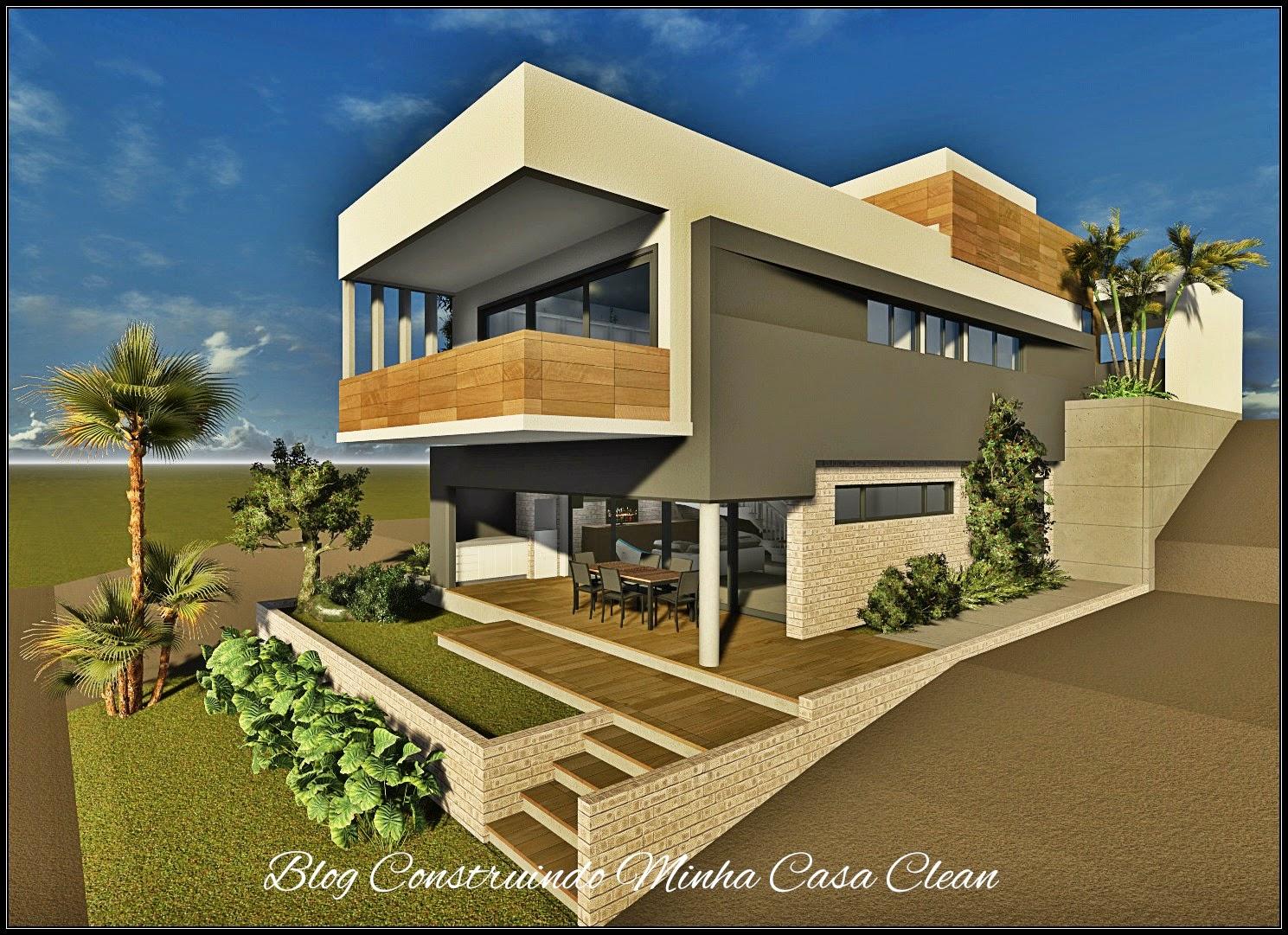 Construindo minha casa clean fachadas de casas em for Casa moderna 4 parte 3