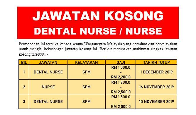 [UPDATE] Permohonan Jawatan Kosong Dental Nurse / Nurse Dibuka Seluruh Negeri Ambilan November - December 2019