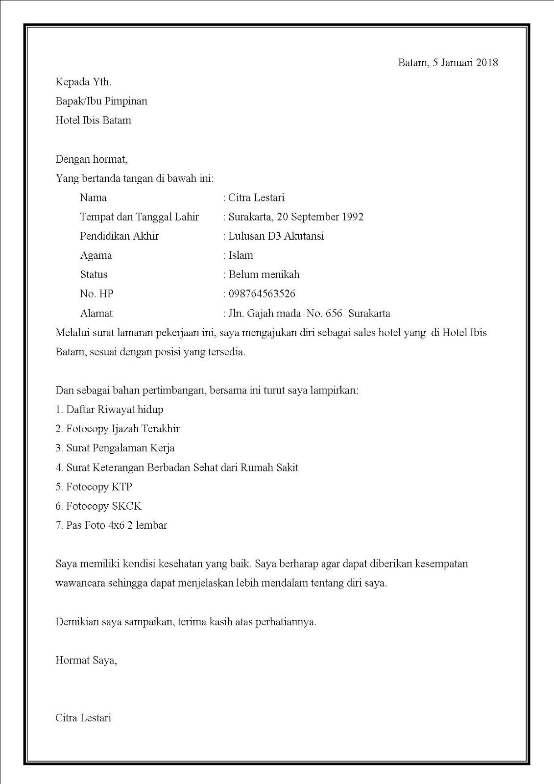 Contoh surat lamaran kerja di hotel menggunakan bahasa Indonesia yang baik dan benar