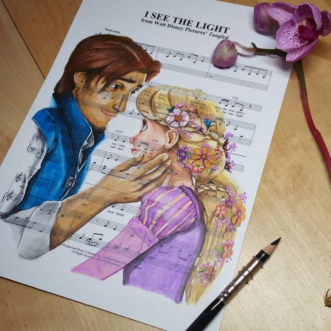 12-Tangled-Rapunzel-Ursula-Doughty-Animated-Movies-Drawn-on-their-Music-Scores-www-designstack-co