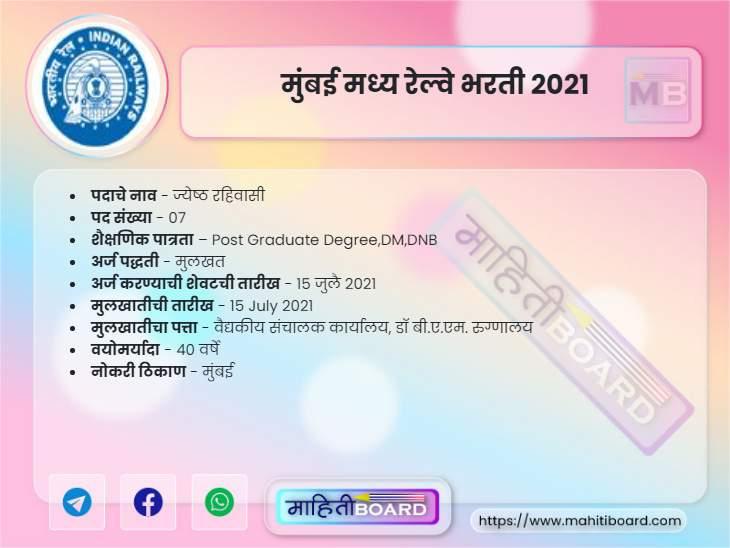 Mumbai Central Railway Recruitment 2021