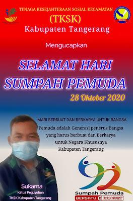 Sukarna Ketua Paguyuban TKSK Kabupaten Tangerang Mengucapkan Selamat Hari Sumpah Pemuda 2020