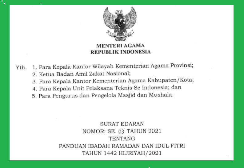 gambar Surat edaran kemenag nomor 3 tahun 2021