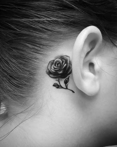 Esta pequena rosa atrás da orelha