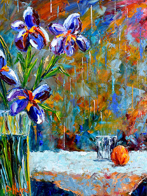 Floral Painting Flowers Art Iris Painting Still Life Oil by Debra Hurd