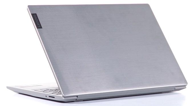 All-plastic body of Lenovo IdeaPad S145 laptop.