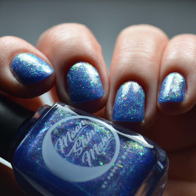 indigo flakie nail polish low light swatch