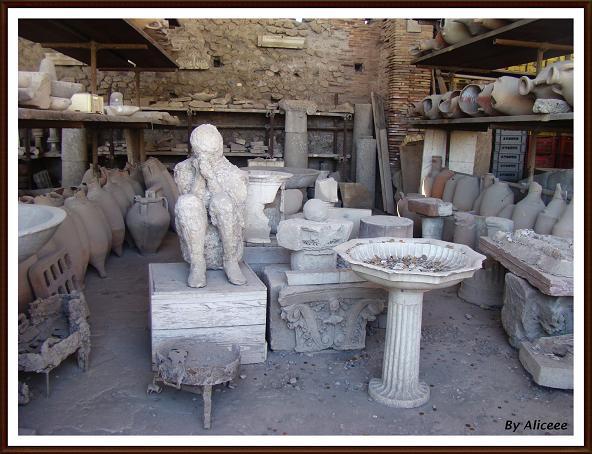 eruptia Vezuviului si statuile umane