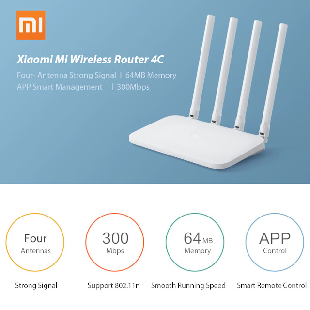 Original Xiaomi Mi WIFI Router 4C 64 RAM 802.11 b/g/n 2.4GHz 300Mbps 4 Antennas Smart Wireless Routers Repeater for Home Office