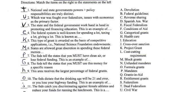 Hamlin AP Government: Fiscal Federalism worksheet