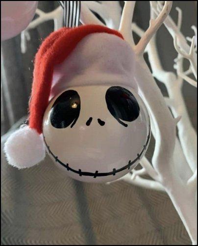 Jack Skellington Santa hat inspired Nightmare Christmas decoration