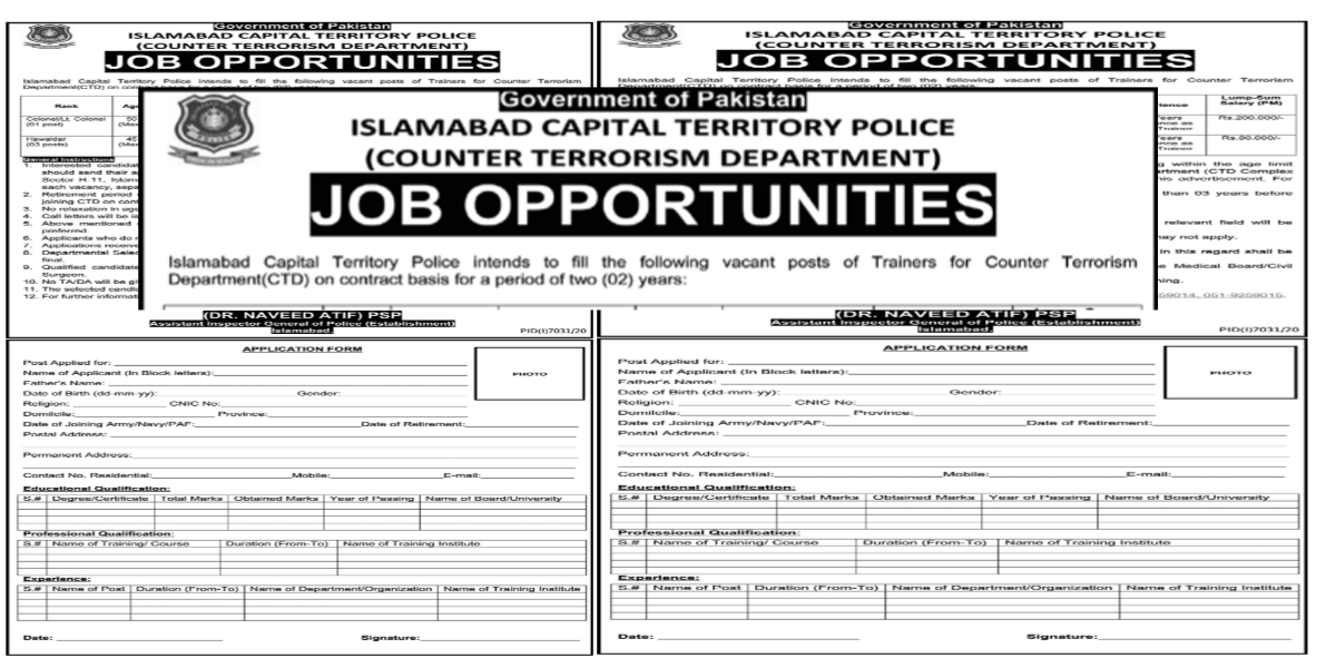 Islamabad Capital Territory Police Counter Terrorism Department CTD Government of Pakistan Jobs 2021
