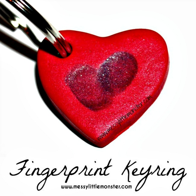 Clay craft ideas for kids. Fingerprint heart keyring made from polymer clay.