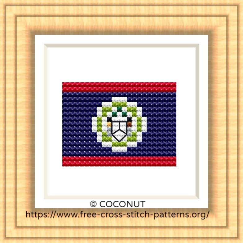 NATIONAL FLAG OF BELIZE CROSS STITCH CHART