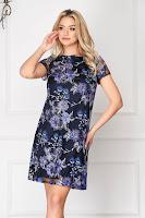 Rochie albastru-inchis eleganta scurta din dantela cu maneci scurte