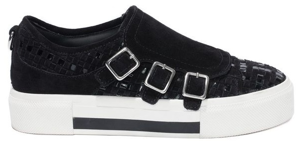Black embroidered 3 Buckle sneaker