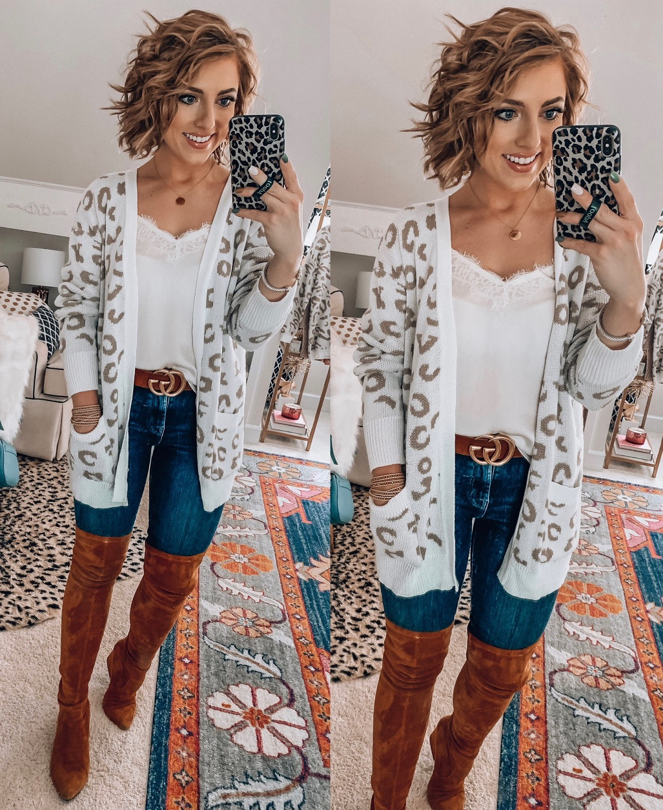 Recent Amazon Finds: Sweaters & Cardigans Edition - $28 Leopard Print Cardigan  - Something Delightful Blog #FallStyle #AmazonFashion #AffordableStyle