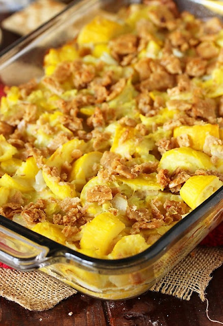 Ma's Mashed Summer Squash Casserole in Baking Dish Image