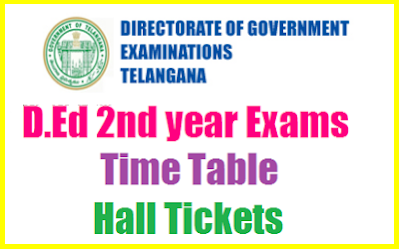 TS Ded 2nd year hall tickets 2018-2019 download