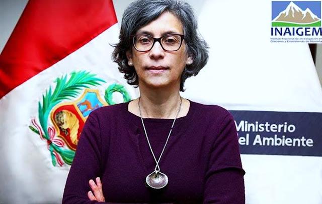 La presidenta ejecutiva del Instituto Nacional de Investigación en Glaciares y Ecosistemas de Montaña (Inaigem), Gisela Orjeda