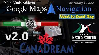 ats google maps navigation normal night version map mods addons v2.0