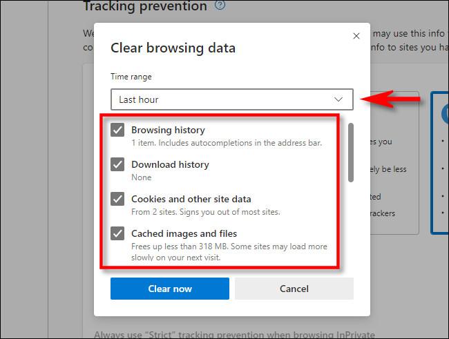 """في نافذة """"محو بيانات التصفح"""" في Microsoft Edge ، حدد جوانب السجل التي ترغب في مسحها."""