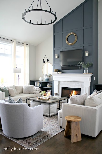 tall fireplace with grid pattern