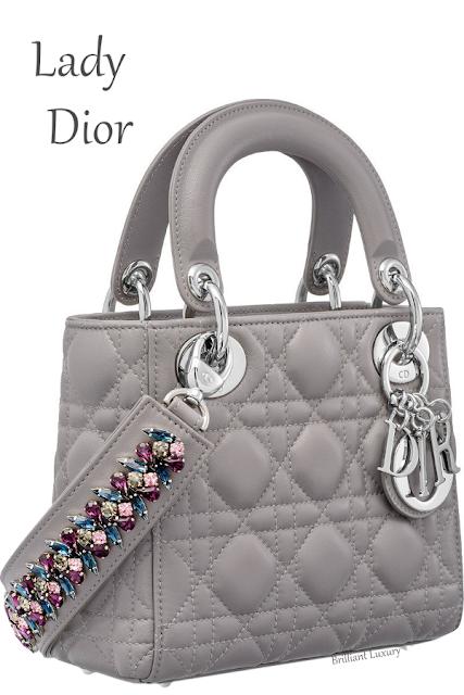 Montagne grey mini Lady Dior bag with cannage topstitching #brilliantluxury