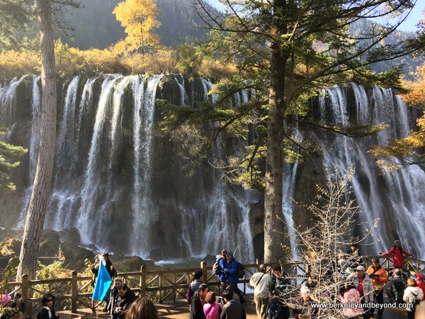 Nuorilang Waterfall in Jiuzhaigou Valley National Park in Sichuan Province, China