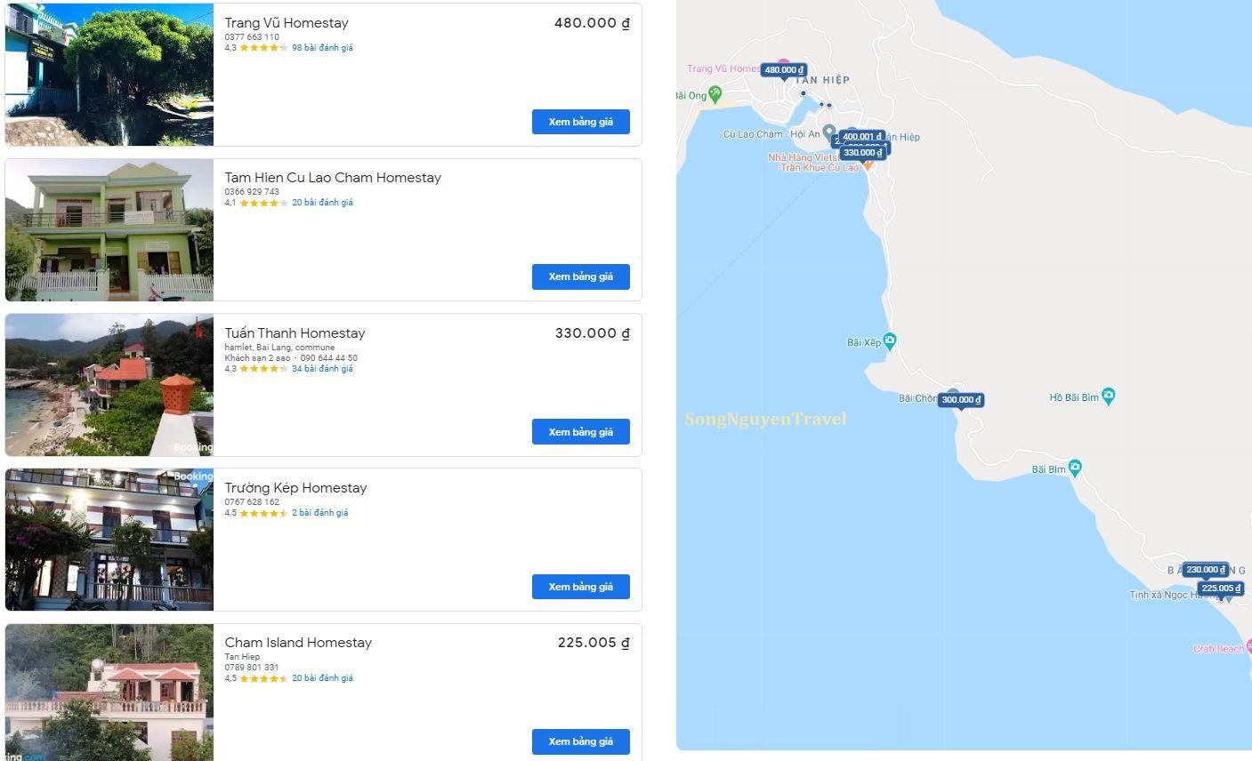 Bản đồ homestay tham quan Cù Lao Chàm - Hội An