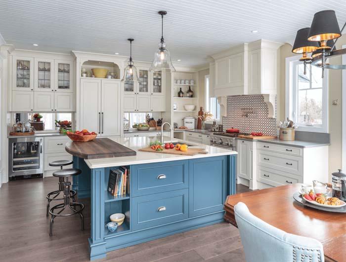 açık mavi mutfak dolapları