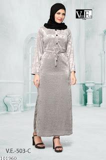 Emboss Print Velvet Gown