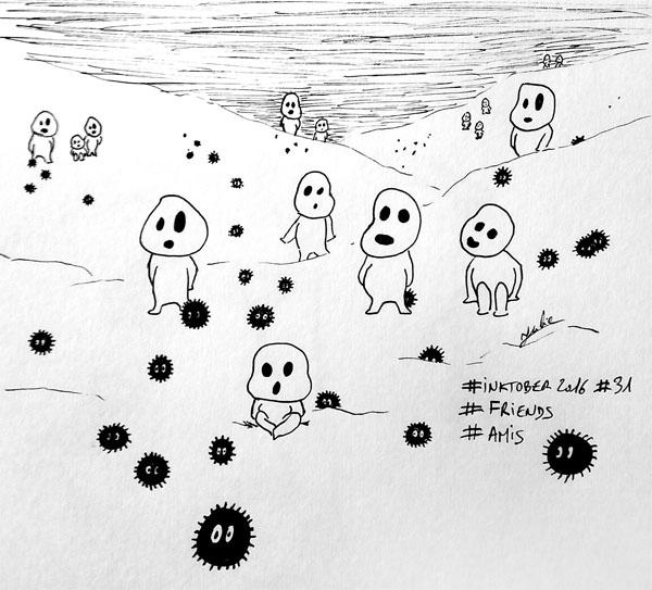Inktober 2016 - Jour 31 - Ami(e) (Friend) - les esprits de la forêt sont nos amis