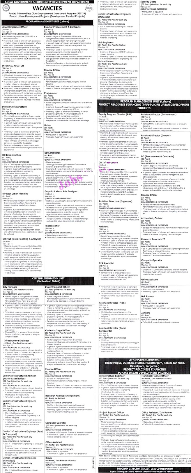 Local Government Punjab New Jobs 2021 Latest Announcement