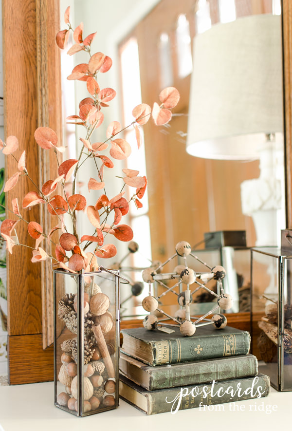 fall decor using nuts, pine cones, vintage books, and faux sienna eucalyptus