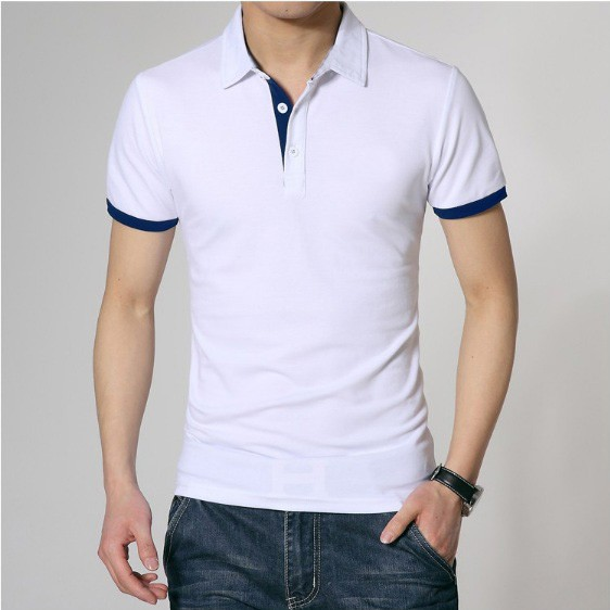 Polo Shirt Premium White Stripe Blue