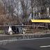На проспекті Лобановського автівка знесла автобусну зупинку і спалахнула