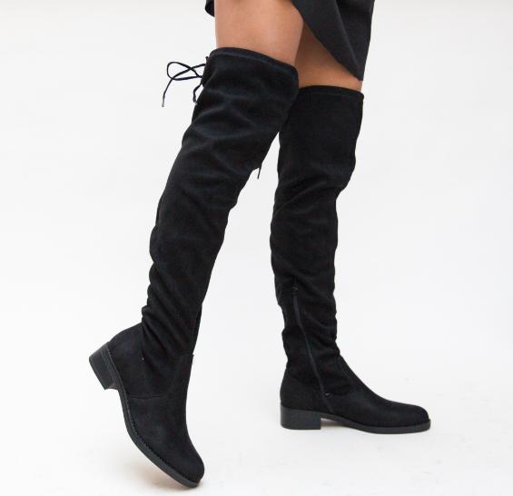 Cizme inalte peste genunchi de iarna din piele intoarsa eco negre ieftine