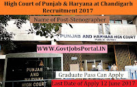 High Court of Punjab & Haryana at Chandigarh Recruitment 2017– 86 Stenographer
