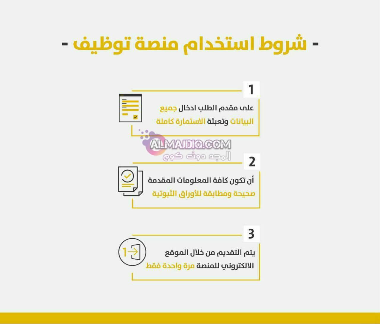 شروط استخدام منصة «توظيف»