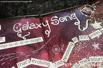 adding the title for Galaxy Song on the galaxy mixed media artwork by Jenny James