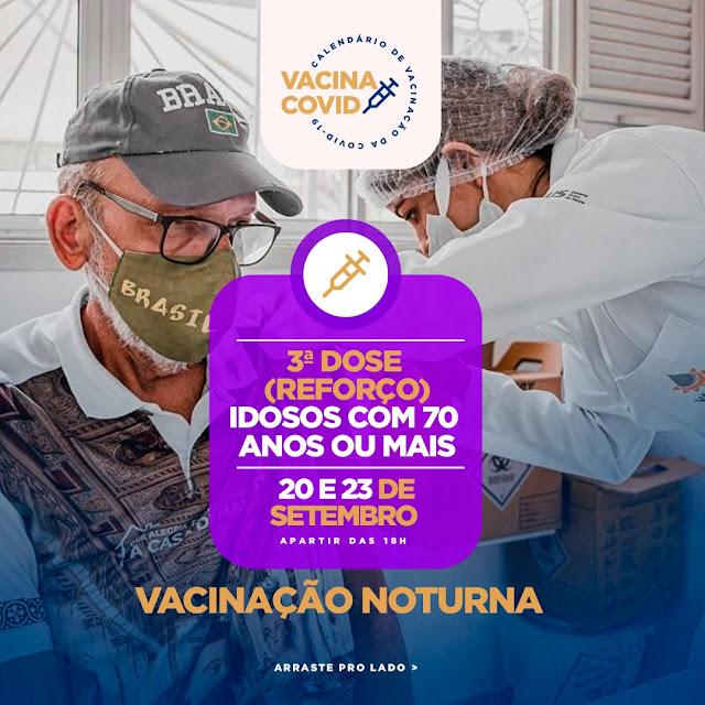 Patos inicia vacinação noturna para aplicar terceira dose de reforço contra a covid-19 em idosos