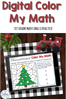 Digital Color by Number activities make a great math skills review and independent math center for 1st grade math