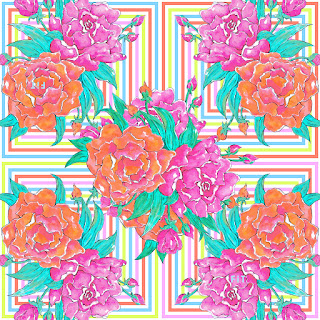 Peony square-flower repeat 7044