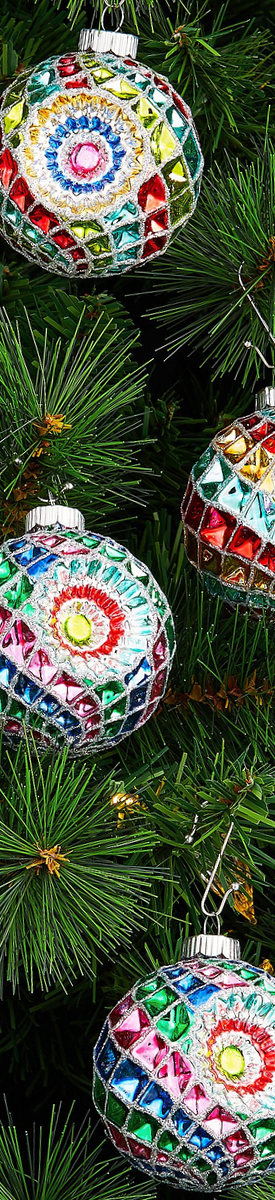 Christopher Radko Shiny Brite Christmas Confetti Decorated Rounds with Reflectors 6-Piece Ornaments