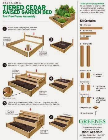 #Gardening : Tiered Cedar Raised Garden Bed